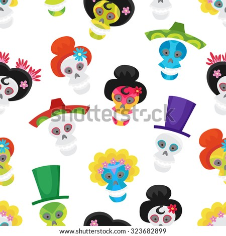 Seamless pattern with colorful skulls for day of the dead or halloween. Sugar skulls for mexican day of the dead. Cute skulls and flowers in a cartoon style.
