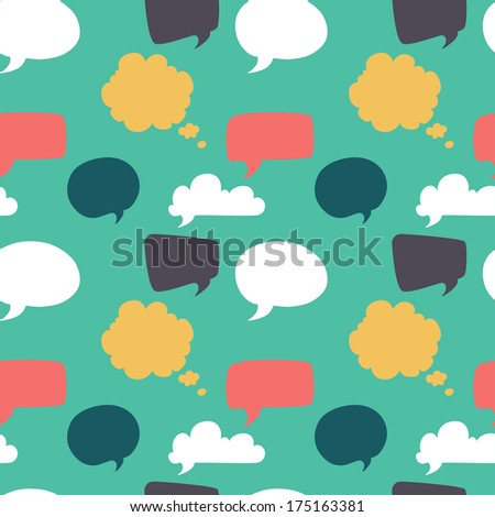 Seamless pattern with colorful speech and thought bubbles. Flat style background. - stock vector