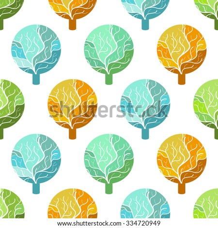 Seamless pattern with colorful tree icons