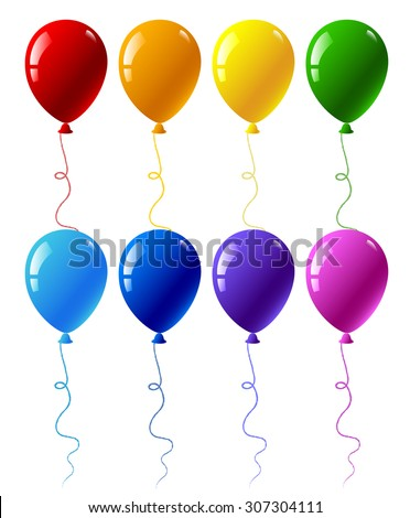 Seamless pattern with colourful party balloons isolated on white - stock vector