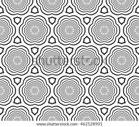 Seamless pattern with concentric circles. Vector illustration. For the interior design, printing, wallpaper, textile industry.