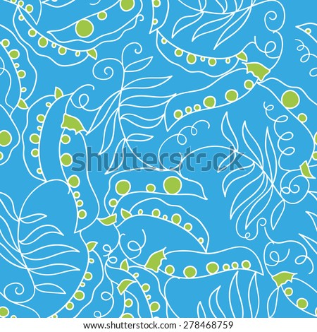 seamless pattern with contour peas - stock vector