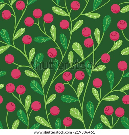 Seamless pattern with cranberry - stock vector