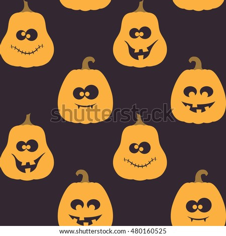 Seamless pattern with creepy, crazy and funny pumpkins for Halloween design