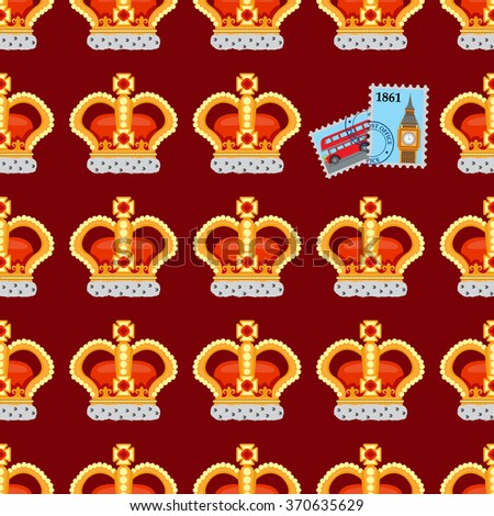 Seamless pattern with crown monarch and stamps.