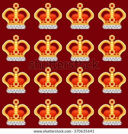 Seamless pattern with crown monarch to the noble burgundy background.