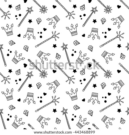 Seamless Pattern with Crowns and Magic Wands, Fantasy, Fairytale, kids fashion, vector background