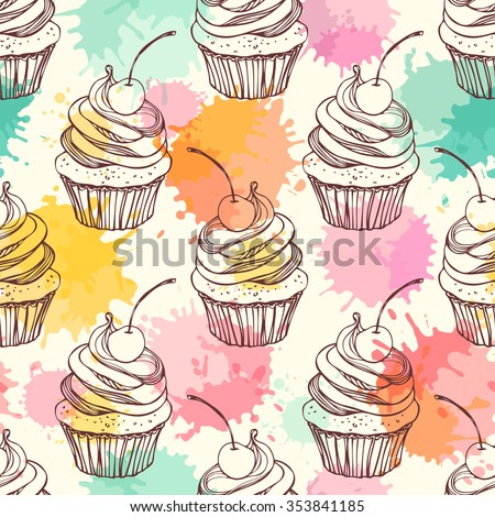 Seamless pattern with cupcakes. Freehand drawing - stock vector