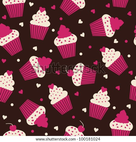 Seamless pattern with cupcakes in white and pink against black background.