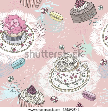 Seamless pattern with cupcakes, tea and macaroons. Cute vector background with sweets. - stock vector