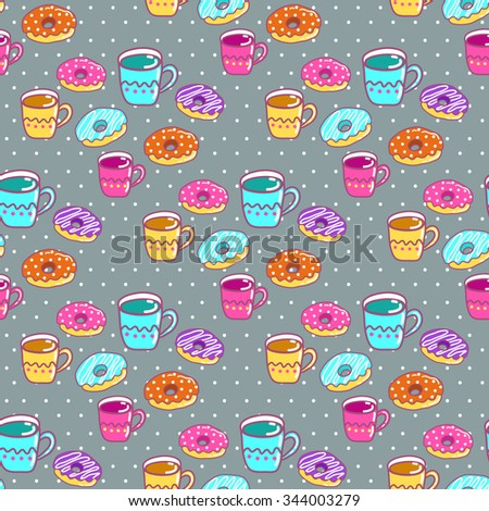 Seamless pattern with cups and cakes - stock vector