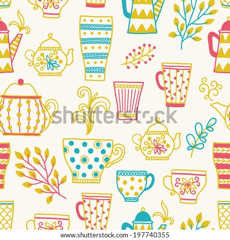 Seamless pattern with cups of tea, glasses and teapots. Perfect for wallpapers, pattern fills, web page backgrounds, surface textures, textile, wrapping papers.  - stock vector