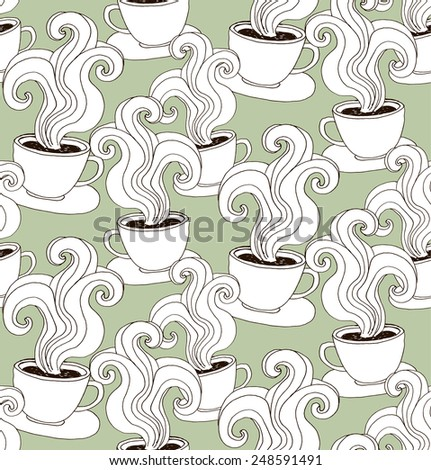 Seamless pattern with cups. Vector repeating texture. - stock vector