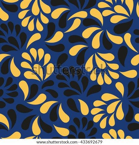 Seamless pattern with curls. Elegant scrollwork in the form of drops. Dark blue background with yellow and black patterns. Vintage ornament with floral stylized patterns. - stock vector