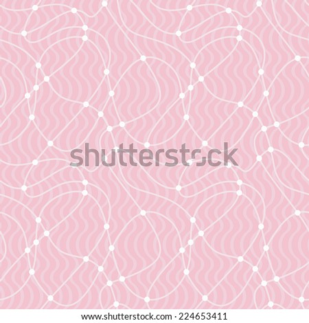 Seamless pattern with curves and waves. Tint of pinkish red color - stock vector