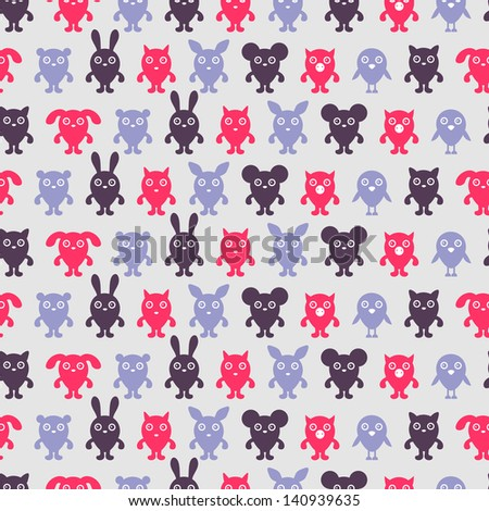 Seamless pattern with cute animal silhouettes - stock vector