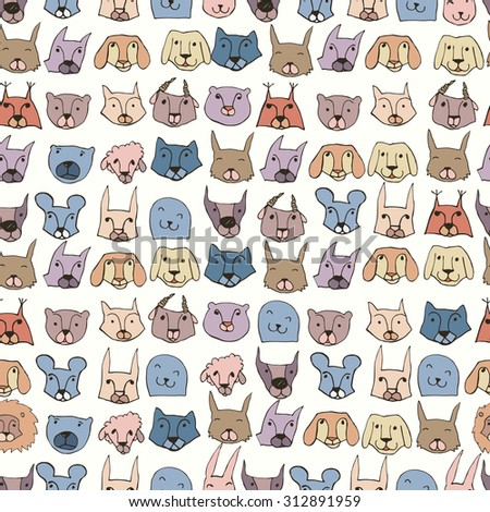 Seamless pattern with cute animals. Bright childish background.Vector illustration. Hand drawn illustration. - stock vector