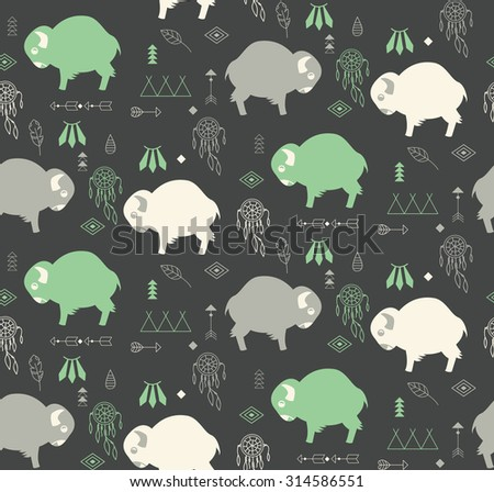 Seamless pattern with cute baby buffaloes and native American symbols, vector illustration - stock vector