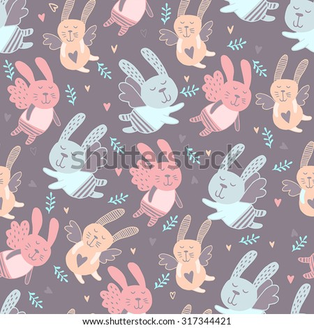 Seamless pattern with cute bunny. Background for kids. Lovely rabbits. - stock vector