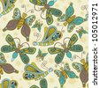 Seamless pattern with cute butterflies - stock vector