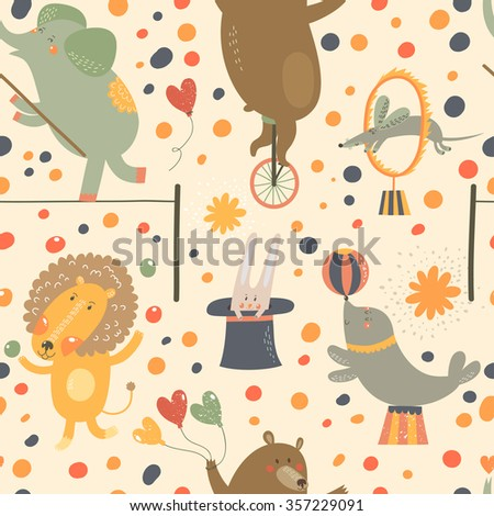Seamless pattern with cute cartoon animals from circus: elephant, bear, lion, rabbit, rat and cute seal. Vector background. - stock vector