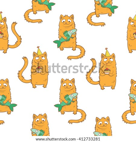 Seamless pattern with cute cartoon cats and fish on  white  background. Children's illustration. Kittens  with cake in party hat. Vector image. - stock vector