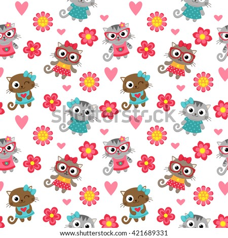 Seamless pattern with cute cartoon cats. Vector image. - stock vector