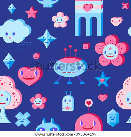 Seamless pattern with cute cartoon cloud, scull, flower, heart, robots, tree and small characters. Pink, light pink, blue, light blue, sky blue, vinous, dark blue background. - stock vector