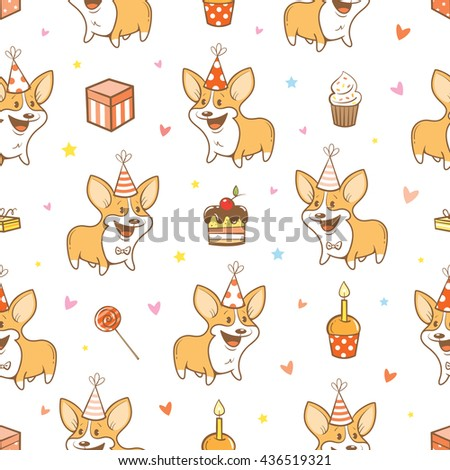 Seamless pattern with cute cartoon dogs breed Welsh Corgi Pembroke on  white  background.  Birthday gifts, balloons, sweets and party hats. Children's illustration. Vector little puppies. - stock vector