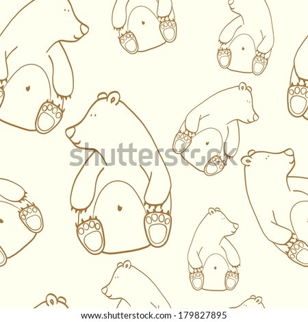 Seamless pattern with cute cartoon doodle bears. Hand drawn childish background. - stock vector