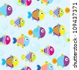 Seamless pattern with cute cartoon fishes - stock vector