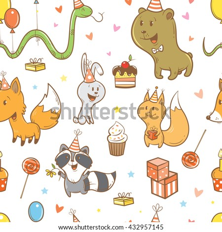 Seamless pattern with cute cartoon foxes, hares, squirrels, snake, raccoons  and bears on  white  background.  Birthday gifts, balloons, sweets,  party hats. Children's illustration. Vector image. - stock vector