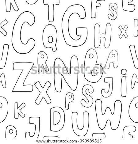 Seamless pattern with cute cartoon letters. Can be used for wallpaper, pattern fills, greeting cards, webpage backgrounds, wrapping paper or fabric. Vector illustration. EPS 10. - stock vector