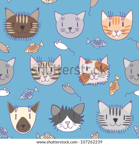 Seamless pattern with cute cats #2 - stock vector