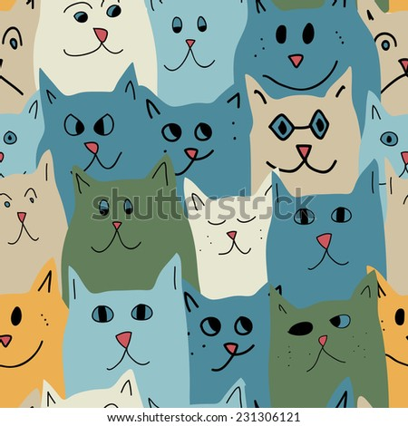 Seamless pattern with cute cats in cartoon style. Vector illustration. - stock vector
