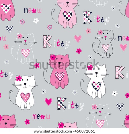 Seamless pattern with cute cats, lettering and flowers