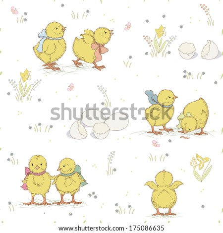 Seamless pattern with cute chickens  - stock vector