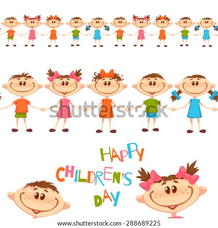 Seamless pattern with cute childrens. Happy Childrens Day title. Vector illustration. - stock vector