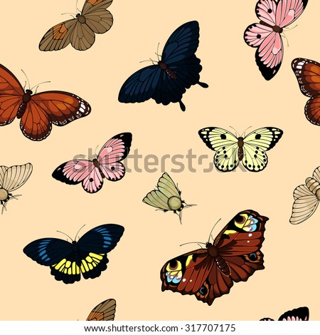 Seamless pattern with cute colorful butterflies - stock vector