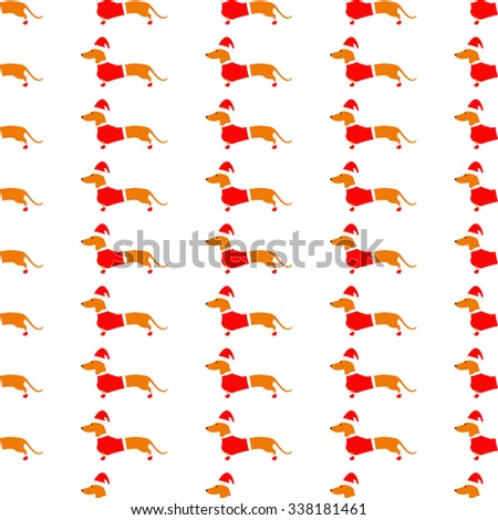Seamless pattern with cute dachshund in red Christmas suit repeating on white background. Flat style illustration - stock vector