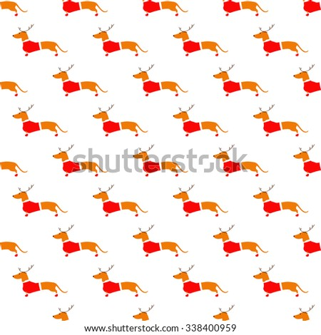 Seamless pattern with cute dachshund in reindeer horns and red Christmas suit situated in staggered rows on white background. Flat style vector illustration - stock vector
