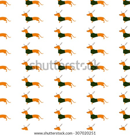 Seamless pattern with cute dachshund wearing Christmas suit, green jersey decorated with red stripes and brown reindeer horns isolated on white background - stock vector