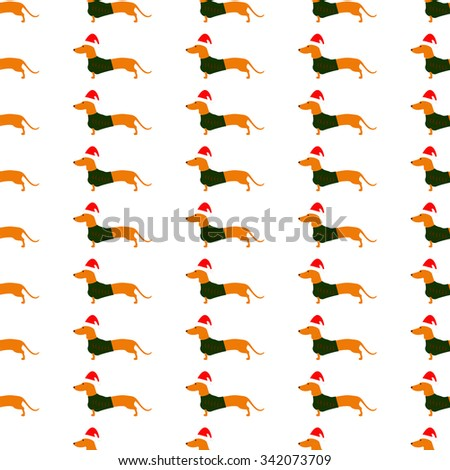 Seamless pattern with cute dachshund wearing Christmas suit, green jersey decorated with red stripes and red Christmas isolated on white background - stock vector