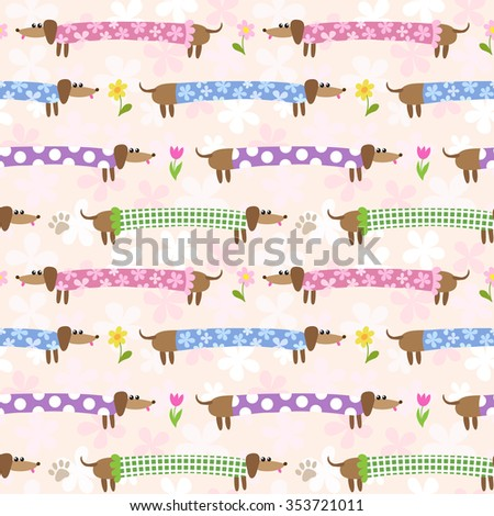 Seamless pattern with cute dachshunds in multicolored clothing - stock vector