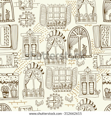 Seamless pattern with cute doodle cartoon windows for fabric or pattern design, Vector - stock vector