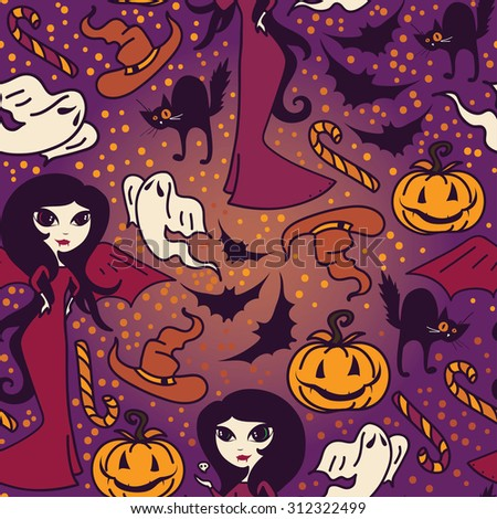 seamless pattern with cute doodle witches for halloween, vector illustration