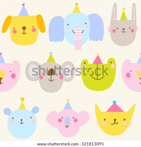 Seamless pattern with cute festive animals. Happy birthday animal party texture. Cute cartoon background for kids - stock vector