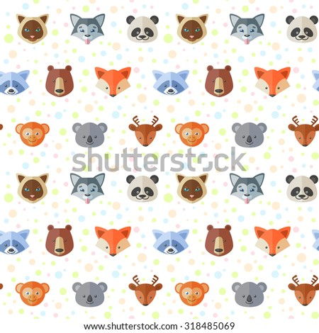 Seamless pattern with cute flat animals portraits for children clothes, kids fabric prints, web shop backgrounds - stock vector