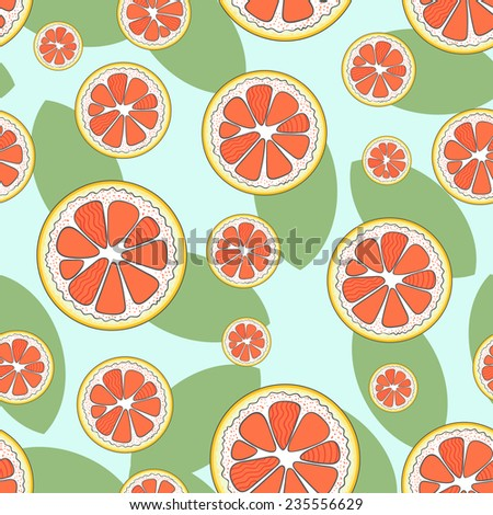 Seamless pattern with cute freehand grapefruits and big leaves on light blue background