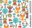 Seamless pattern with cute funny animals - stock vector